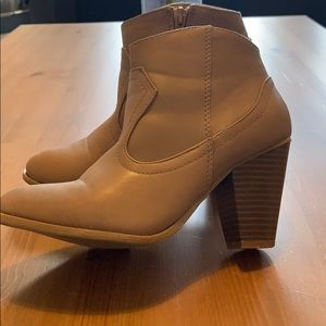 Greige Ankle Booties by Bamboo